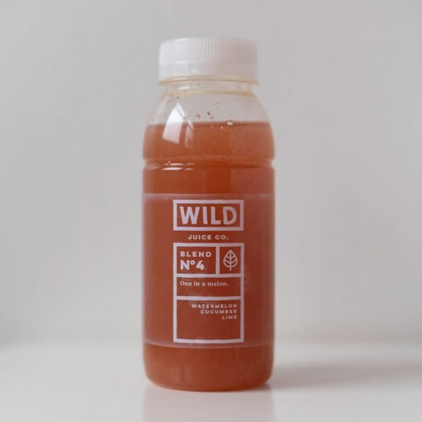 A bottle of one in a melon by Wild Juice