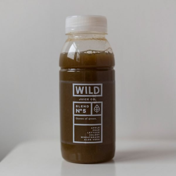 A bottle of queen of green from Wild Juice